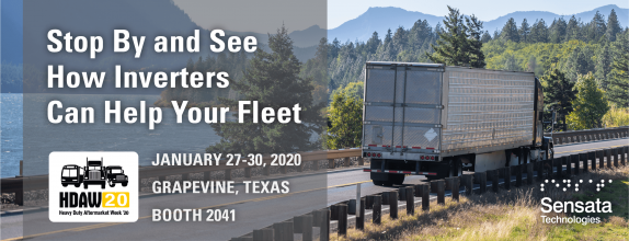Stop By and See How Inverters Can Help Your Fleet, HDAW 20, January 27-30, 2020, Grapevine, Texas, Booth 2041